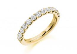 18ct Yellow Gold Round Brilliant Cut Half Eternity Ring 1ct