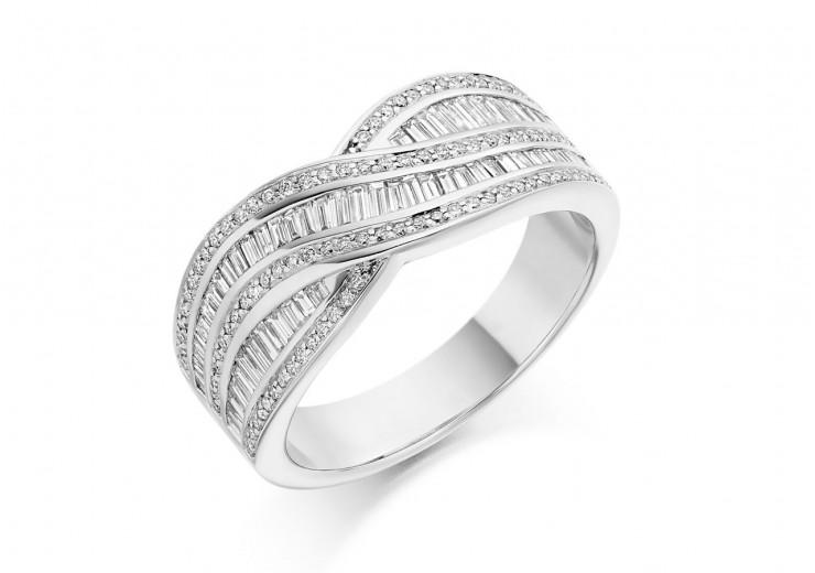 18ct White Gold Round Brilliant & Baguette Cut Diamond Wave Half Eternity Ring 0.80ct