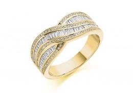 18ct Yellow Gold Round Brilliant & Baguette Cut Diamond Wave Half Eternity Ring 0.80ct