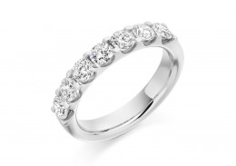 18ct White Gold Round Brilliant Cut Diamond Half Eternity Ring 1.30ct