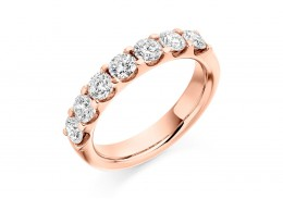 18ct Rose Gold Round Brilliant Cut Diamond Half Eternity Ring 1.30ct