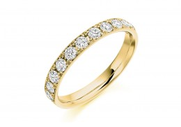 18ct Yellow Gold Round Brilliant Cut Half Eternity Ring 0.65ct