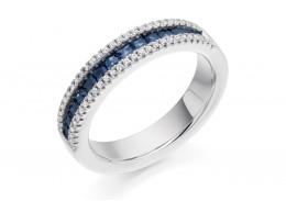 18ct White Gold Sapphire & Diamond Princess & Round Brilliant Cut Half Eternity Ring 0.84ct