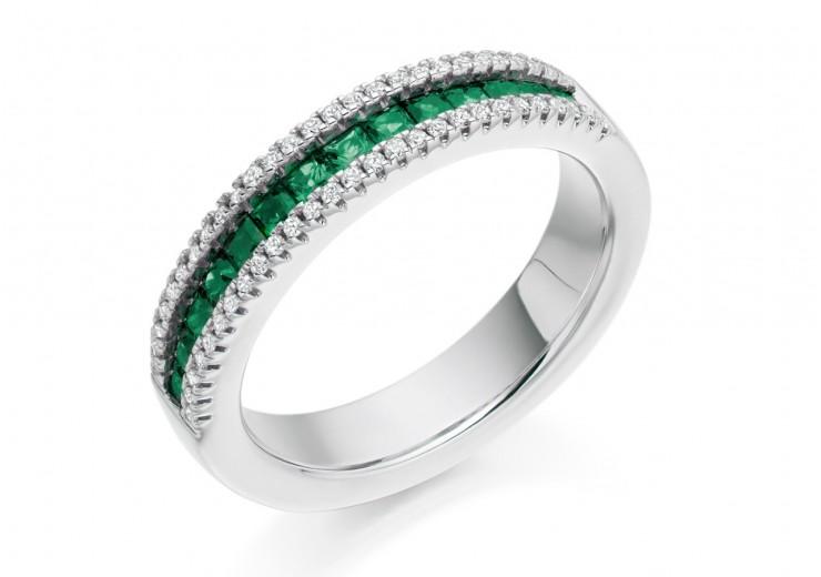 18ct White Gold Emerald & Diamond Princess & Round Brilliant Cut Half Eternity Ring 0.80ct