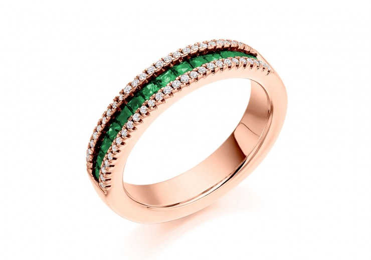 18ct Rose Gold Emerald & Diamond Princess & Round Brilliant Cut Half Eternity Ring 0.80ct