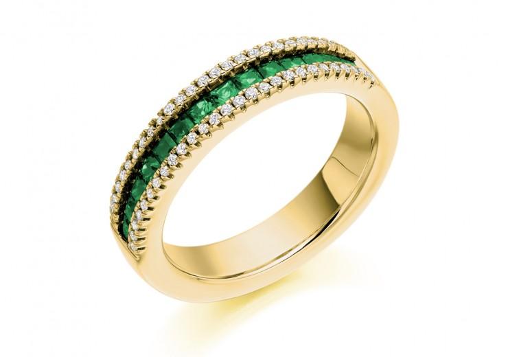 18ct Yellow Gold Emerald & Diamond Princess & Round Brilliant Cut Half Eternity Ring 0.80ct