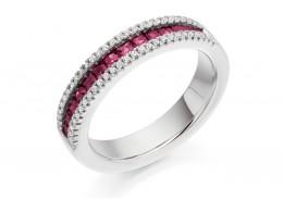 18ct White Gold Ruby & Diamond Princess & Round Brilliant Cut Half Eternity Ring 0.88ct