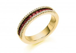 18ct Yellow Gold Ruby & Diamond Princess & Round Brilliant Cut Half Eternity Ring 0.88ct