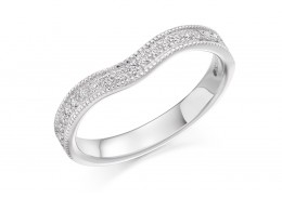 18ct White Gold Round Brilliant Cut Half Wave Eternity Ring 0.18ct