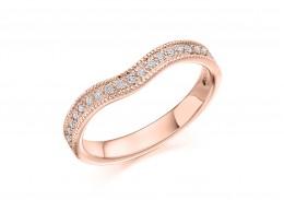 18ct Rose Gold Round Brilliant Cut Half Wave Eternity Ring 0.18ct