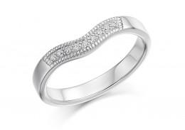 18ct White Gold Round Brilliant Cut Half Wave Eternity Ring 0.08ct