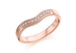 18ct Rose Gold Round Brilliant Cut Half Wave Eternity Ring 0.08ct