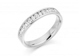 18ct White Gold Round Brilliant & Baguette Cut Diamond Half Eternity Ring 0.50ct