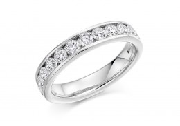 18ct White Gold Round Brilliant Cut Diamond Half Eternity Ring 1ct