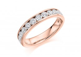 18ct Rose Gold Round Brilliant Cut Diamond Half Eternity Ring 1ct