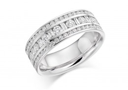 18ct White Gold Baguette & Round Brilliant Cut Half Eternity Ring 1.30ct