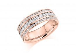 18ct Rose Gold Baguette & Round Brilliant Cut Half Eternity Ring 1.30ct