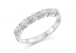 18ct White Gold Round Brilliant Cut Half Eternity Ring 0.60ct
