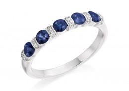 18ct White Gold Sapphire & Diamond Round Brilliant Cut Half Eternity Ring 0.83ct