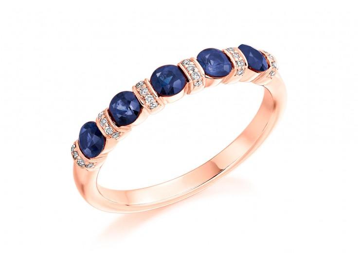 18ct Rose Gold Sapphire & Diamond Round Brilliant Cut Half Eternity Ring 0.83ct