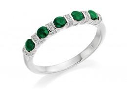 18ct White Gold Emerald & Diamond Round Brilliant Cut Half Eternity Ring 0.60ct