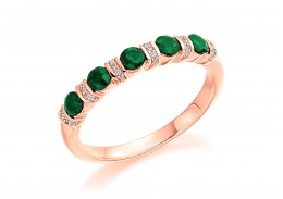 18ct Rose Gold Emerald & Diamond Round Brilliant Cut Half Eternity Ring 0.60ct