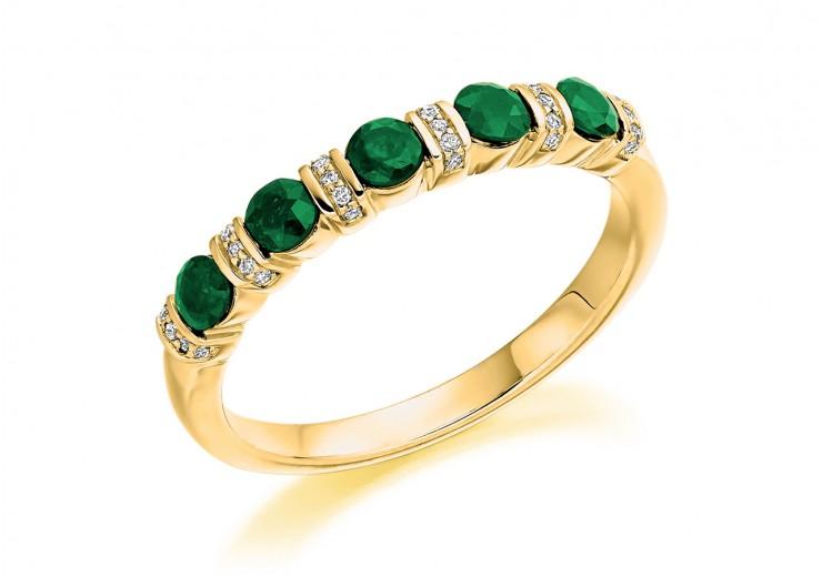 18ct Yellow Gold Emerald & Diamond Round Brilliant Cut Half Eternity Ring 0.60ct