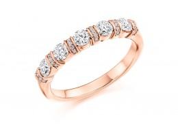18ct Rose Gold Round Brilliant Cut Half Eternity Ring 0.60ct