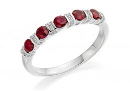 18ct White Gold Ruby & Diamond Round Brilliant Cut Half Eternity Ring 0.74ct
