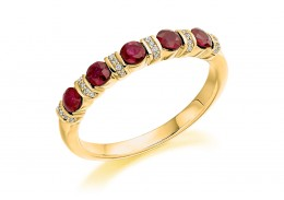 18ct Yellow Gold Ruby & Diamond Round Brilliant Cut Half Eternity Ring 0.74ct