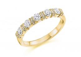 18ct Yellow Gold Round Brilliant Cut Half Eternity Ring 0.60ct