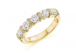 18ct Yellow Gold Round Brilliant Cut Half Eternity Ring 1.20ct