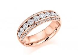18ct Rose Gold Round Brilliant Cut Half Eternity Ring 1.25ct