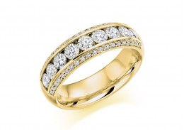 18ct Yellow Gold Round Brilliant Cut Half Eternity Ring 1.25ct