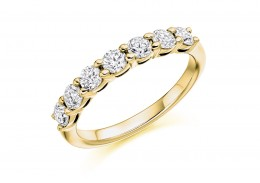 18ct Yellow Gold Round Brilliant Cut Half Eternity Ring 0.75ct
