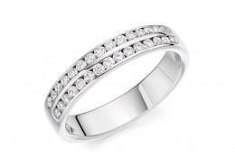 18ct White Gold Round Brilliant Cut Diamond 2 Row Half Eternity Ring 0.35ct