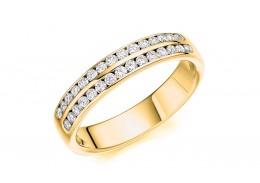 18ct Yellow Gold Round Brilliant Cut Diamond 2 Row Half Eternity Ring 0.35ct