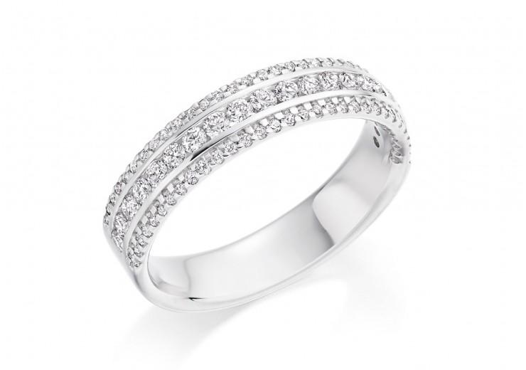 18ct White Gold Round Brilliant Cut Diamond 3 Row Half Eternity Ring 0.55ct