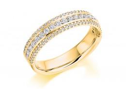 18ct Yellow Gold Round Brilliant Cut Diamond 3 Row Half Eternity Ring 0.55ct
