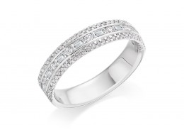 18ct White Gold Round Brilliant & Baguette Cut Diamond 3 Row Half Eternity Ring 0.65ct