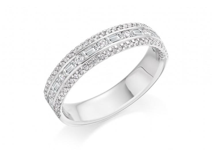 18ct White Gold Round Brilliant & Baguette Cut Diamond 3 Row Half Eternity Ring 0.65ct