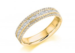 18ct Yellow Gold Round Brilliant & Baguette Cut Diamond 3 Row Half Eternity Ring 0.65ct