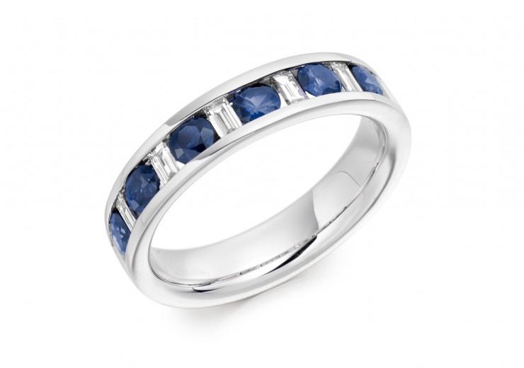18ct White Gold Sapphire & Diamond Baguette & Round Brilliant Cut Half Eternity Ring 0.80ct