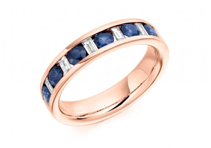 18ct Rose Gold Sapphire & Diamond Baguette & Round Brilliant Cut Half Eternity Ring 0.80ct