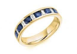 18ct Yellow Gold Sapphire & Diamond Baguette & Round Brilliant Cut Half Eternity Ring 0.80ct
