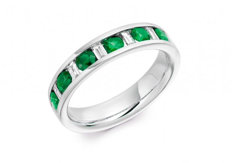 18ct White Gold Emerald & Diamond Baguette & Round Brilliant Cut Half Eternity Ring 0.80ct
