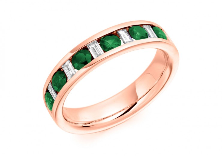 18ct Rose Gold Emerald & Diamond Baguette & Round Brilliant Cut Half Eternity Ring 0.80ct