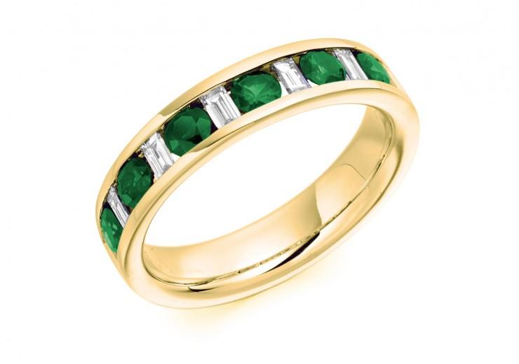 18ct Yellow Gold Emerald & Diamond Baguette & Round Brilliant Cut Half Eternity Ring 0.80ct