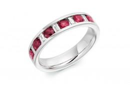 18ct White Gold Ruby & Diamond Baguette & Round Brilliant Cut Half Eternity Ring 0.80ct