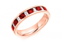 18ct Rose Gold Ruby & Diamond Baguette & Round Brilliant Cut Half Eternity Ring 0.80ct